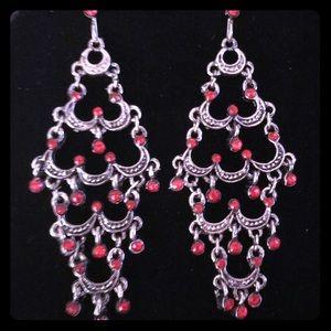 Silver Marcasite Red Gem Chandelier Earrings